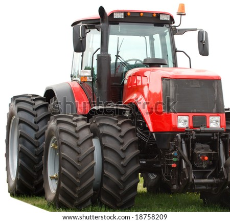 new red tractor with double wheels - stock photo