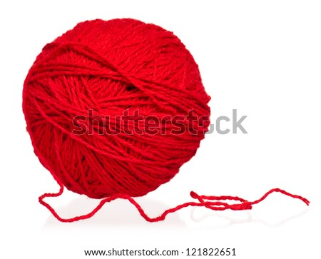 New red yarn thread isolated on white background - stock photo