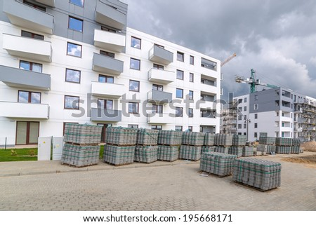 New residential area in construction, Poland - stock photo