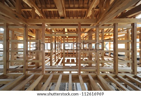 New residential construction home framing-1-1 - stock photo