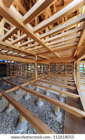 New residential construction home framing Japanese style-1-1 - stock photo