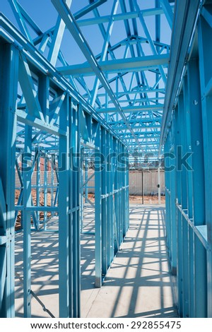 New residential construction home metal framing.Fragment - stock photo
