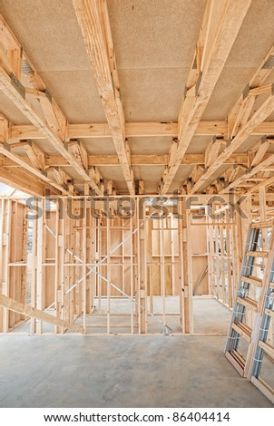 New residential construction home Wooden framing - stock photo