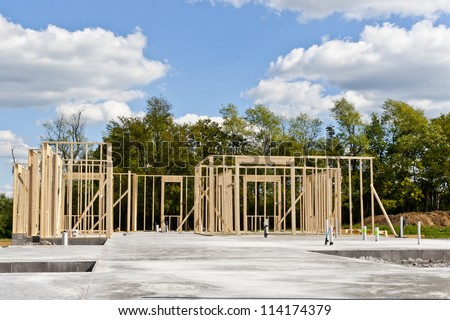 New residential construction house  with pre-installed water pipes and sewage. Build your dream home. - stock photo