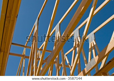 New residential construction in a subdivision of a new community - stock photo
