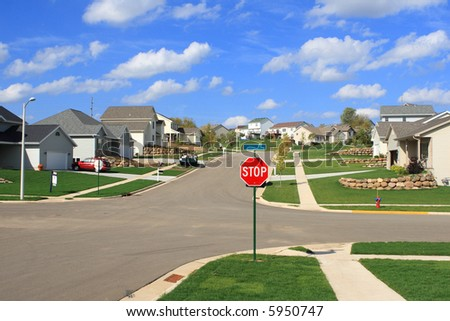 New Residential Homes in a Subdivision - stock photo
