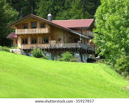 New resindential building in wood construction in bavaria - stock photo