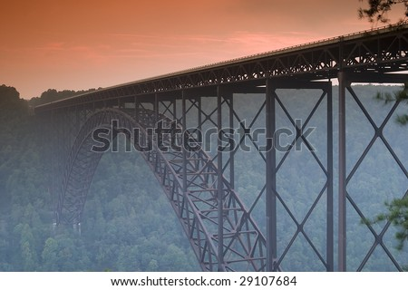New River Bridge Sunset - stock photo