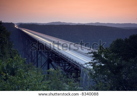 New River Gorge Bridge during sunset. West Virginia USA. - stock photo