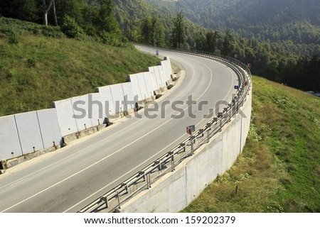 New road in the Caucasus mountains of Krasnaya Polyana.