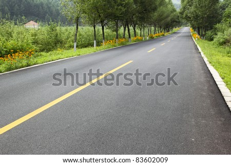 new road in the northeast of china - stock photo
