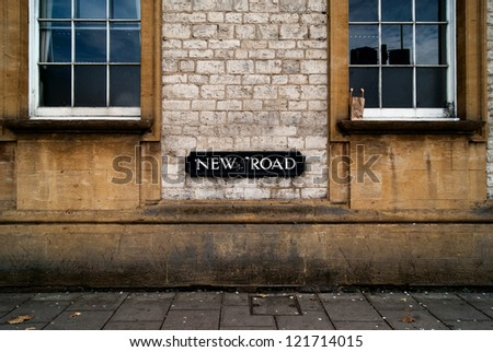 New road sign, Oxford - stock photo