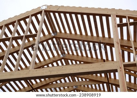 new roof under construction - stock photo