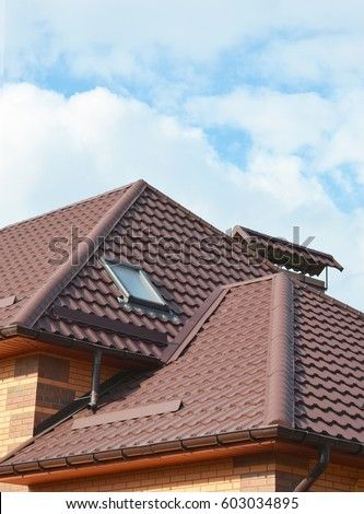 New roofing construction with attic skylights rain gutter system roof windows and roof protection & New Roofing Construction Attic Skylights Rain Stock Photo ... memphite.com