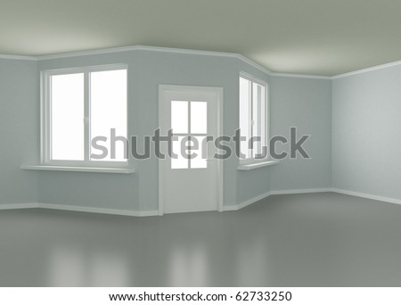 New Room, Windows and Entrance Door, 3d illustration