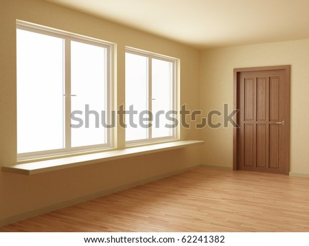 New room, with wooden floor and door, 3d illustration - stock photo