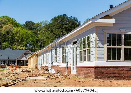 New row house construction in a neighborhood - stock photo