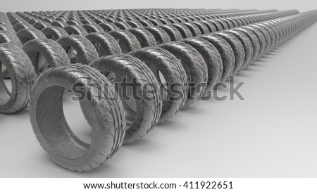 New rubber tires for car with shadows isolated on white background. 3D Illustration.