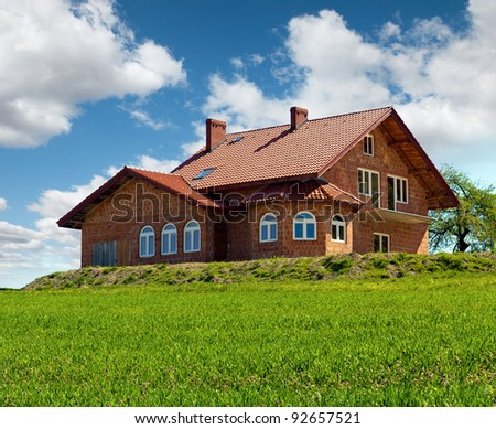 New rural house construction - stock photo