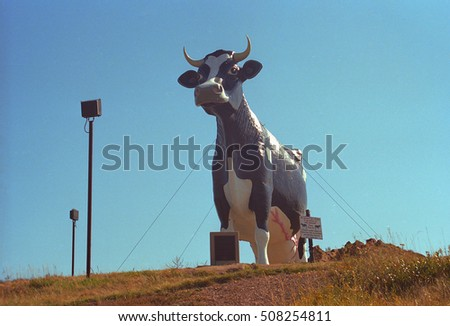 NEW SALEM, NORTH DAKOTA - SEPTEMBER 12: Salem Sue, the World's Largest Holstein Cow on September 12, 2007 in New Salem, ND. The sculpture was built in 1974 for $40.000.