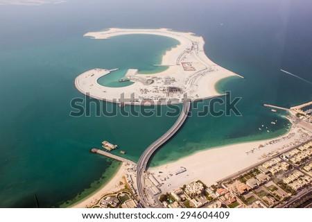 new sand island construction, Dubai, United Arab Emirates - stock photo