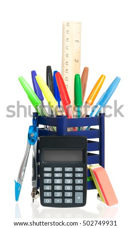 New school stationery isolated on white background