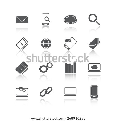 new set of business and communication web icons - stock photo