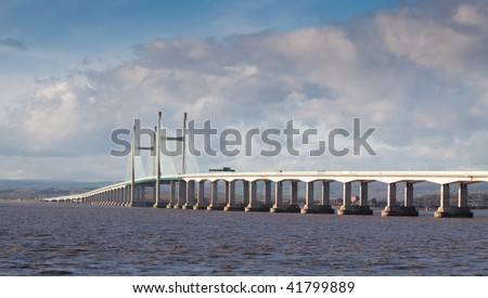 New Severn Bridge carrying the M4 motorway connection between Wales and England - stock photo
