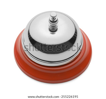 New Shiny Service Bell From the Top View Isolated on a White Background. - stock photo