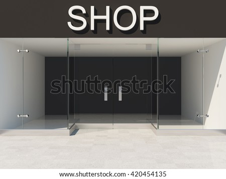 New shop with empty glass showcase. 3D illustration. - stock photo