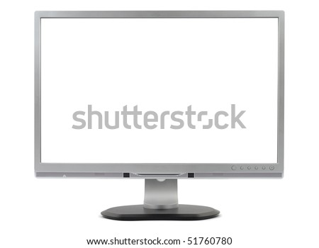 New silver computer monitor isolated on white background with 2 clipping path - stock photo