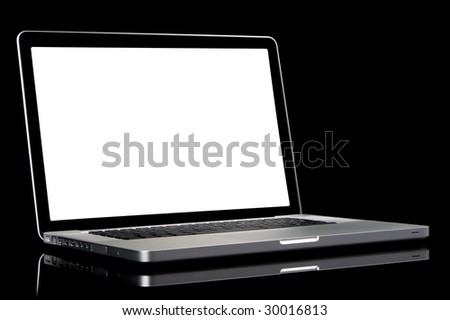 New silver laptop with white screen, black frame screen and black keyboard. Isolated on a black background. - stock photo