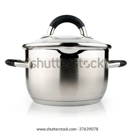new silver pan isolated on white background