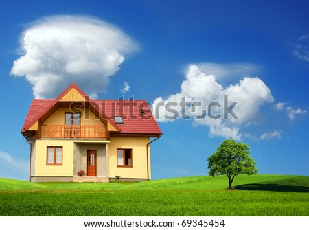 New single family home.Residential architecture - stock photo