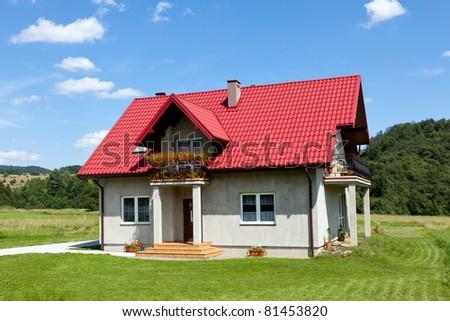 New single family house - stock photo