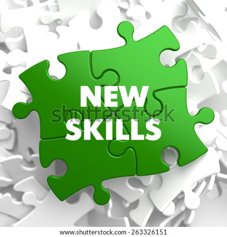 New Skills on Green Puzzle on White Background. - stock photo