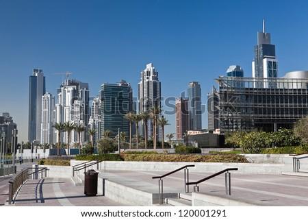 New skyscrapers in Dubai marina in United Arab of Emirates - stock photo