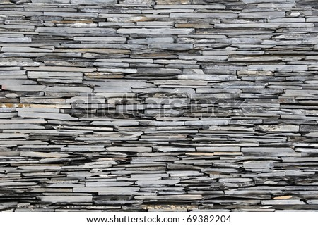New Slate Stone Wall - Background Texture - stock photo
