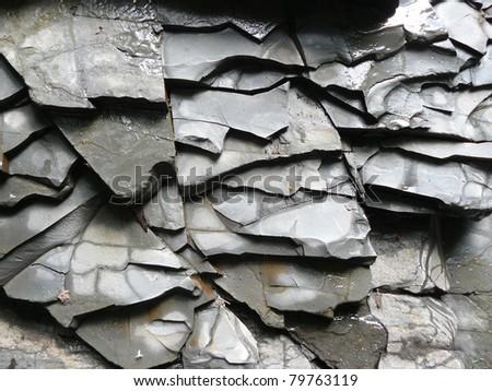 New Slate Stone Wall - Background Texture - stock photo