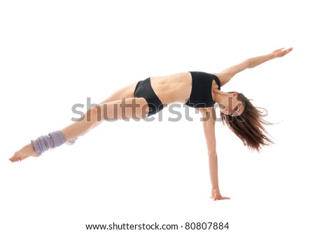 New slim jazz modern contemporary style woman ballet dancer dancing isolated on a white studio background - stock photo