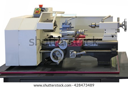 New small lathe set on the table. Isolated on white - stock photo