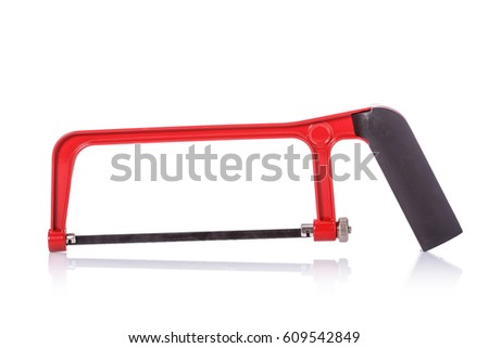 New small saw. Studio shot isolated on white background