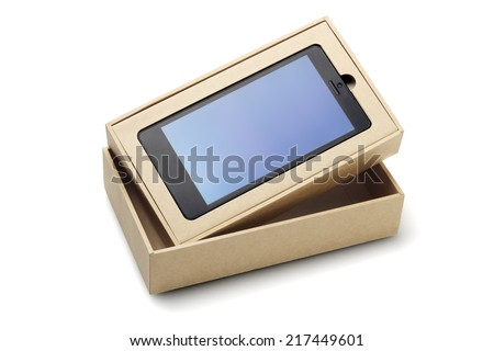 New Smart Phone In Packaging Box On White Background