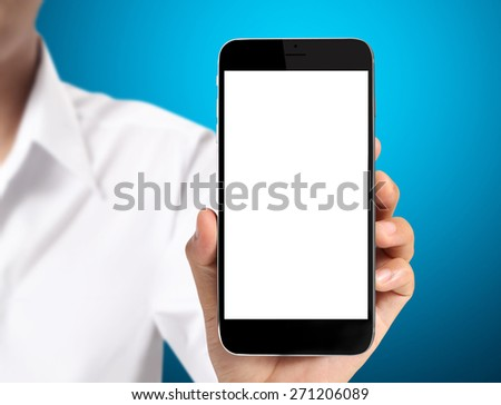 New smartphone in hand - stock photo