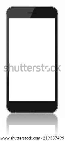 new Smartphone with blank screen on white background  - stock photo