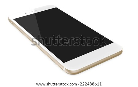 New Smartphone with blank screen on white background