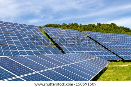 New solar power station - stock photo