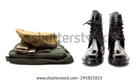 new soldier boot and uniform on white background