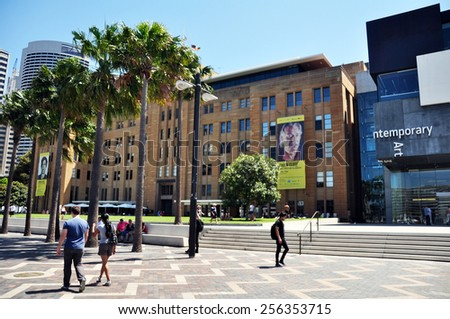 NEW SOUTH WALES, AUSTRALIA - JANUARY 24 : People walk on the Rocks market at Sydney on January 24, 2015 in New South Wales, Australia. - stock photo