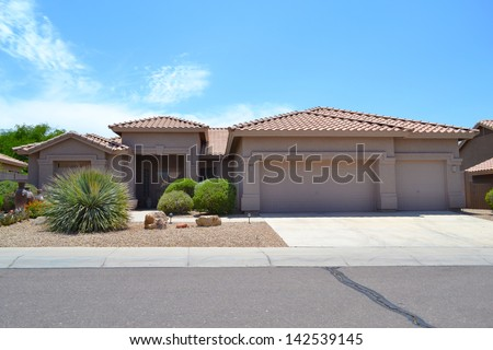 New Southwestern Spanish Style Arizona Dream Home - stock photo